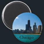 "Chicago Skyline Magnet<br><div class=""desc"">Chicago skyline including Hancock building from the beach</div>"