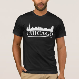 Chicago Skyline Mens American Apparel Black T-Shirt