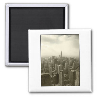 Chicago Skyline Mono 2 Inch Square Magnet