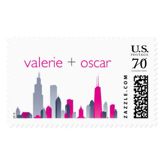 chicago skyline monogram postage
