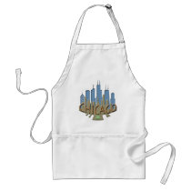 Chicago Skyline newwave beachy Adult Apron