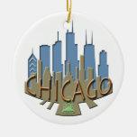 Chicago Skyline newwave beachy Double-Sided Ceramic Round Christmas Ornament