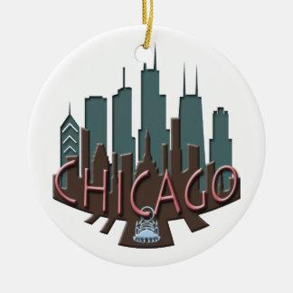 Chicago Skyline newwave chocolate Ceramic Ornament