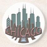 Chicago Skyline newwave chocolate Beverage Coasters