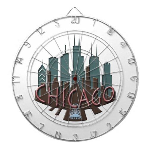 Chicago Skyline newwave chocolate Dartboard