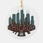 Chicago Skyline newwave chocolate Christmas Ornament
