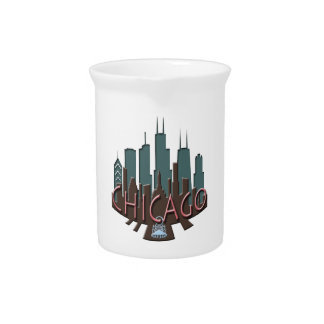 Chicago Skyline newwave chocolate Drink Pitcher