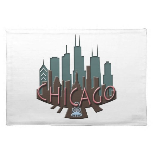 Chicago Skyline newwave chocolate Placemat