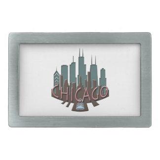 Chicago Skyline newwave chocolate Rectangular Belt Buckle
