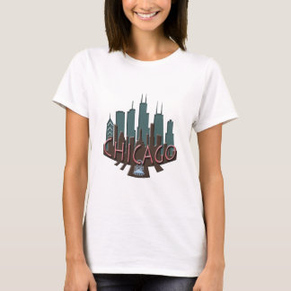 Chicago Skyline newwave chocolate T-Shirt