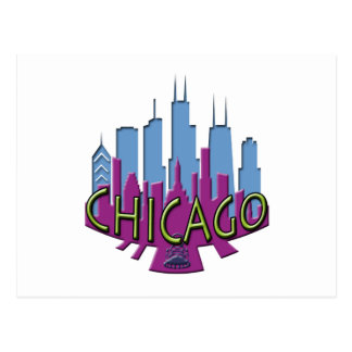 Chicago Skyline newwave cool Postcards