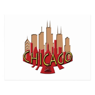 Chicago Skyline newwave hot Post Card