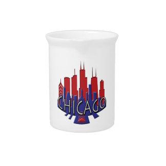 Chicago Skyline newwave patriot Drink Pitcher