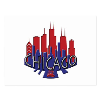 Chicago Skyline newwave patriot Post Card