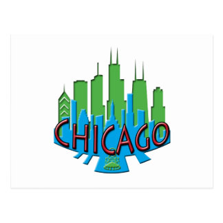 Chicago Skyline newwave primary Post Card
