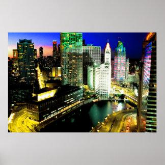 Chicago Skyline Nightime Poster