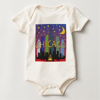 Chicago Skyline nightlife Baby Bodysuit