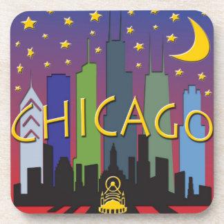 Chicago Skyline nightlife Coaster