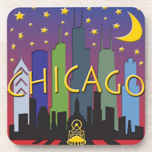 Chicago Skyline nightlife Drink Coaster