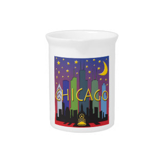 Chicago Skyline nightlife Drink Pitcher