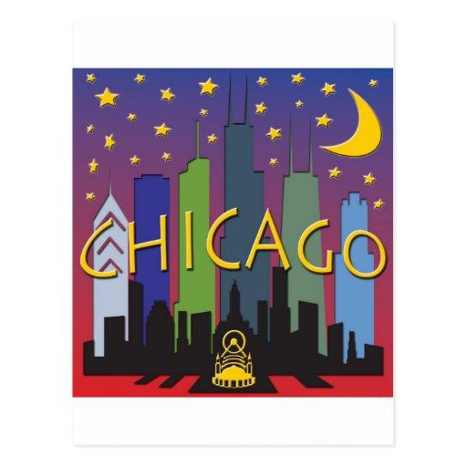 Chicago Skyline nightlife Postcard