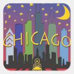 Chicago Skyline nightlife Square Stickers