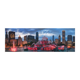 Chicago Skyline on Canvas 12x36 Stretched Canvas Print