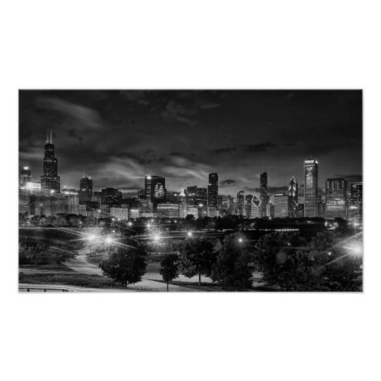 Chicago Skyline on Canvas Poster