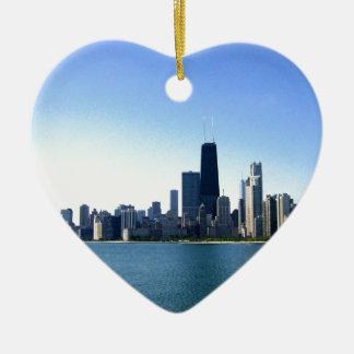Chicago Skyline Double-Sided Heart Ceramic Christmas Ornament