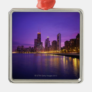 Chicago Skyline Square Metal Christmas Ornament