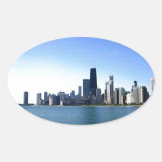 Chicago Skyline Oval Sticker