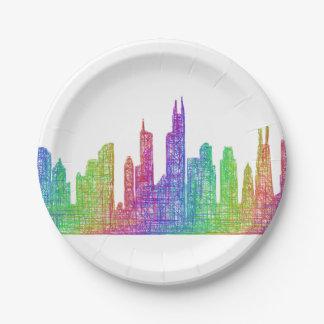 Chicago skyline paper plate