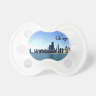 Chicago Skyline Photo Across from Lake Michigan Pacifier