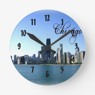 Chicago Skyline Photo Across from Lake Michigan Round Clock