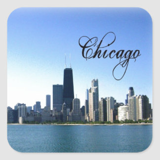 Chicago Skyline Photo Across from Lake Michigan Square Sticker