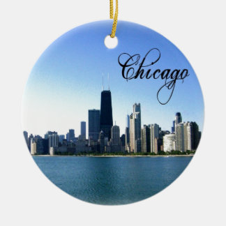 Chicago Skyline Photo with Chicago Text Double-Sided Ceramic Round Christmas Ornament