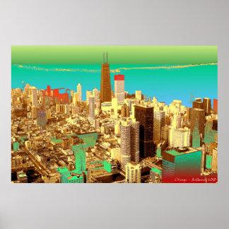 Chicago Skyline - Pop Art Print