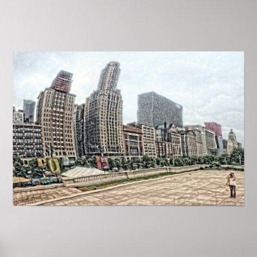 Chicago Skyline Poster Print