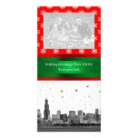 Chicago Skyline Red Snowflake Christmas Card