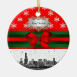 Chicago Skyline Red Snowflake Christmas Double-Sided Ceramic Round Christmas Ornament