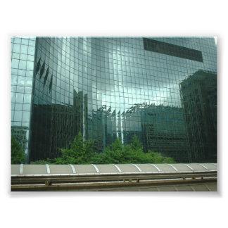 Chicago Skyline Reflected on Building Windows Photo Print