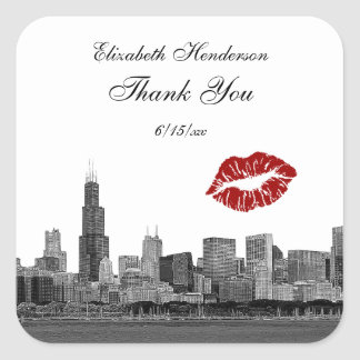 Chicago Skyline Silhouette #1 Kiss Thank You Square Sticker