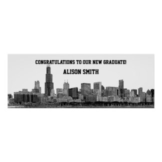Chicago Skyline Silhouette Graduation Party Banner Poster