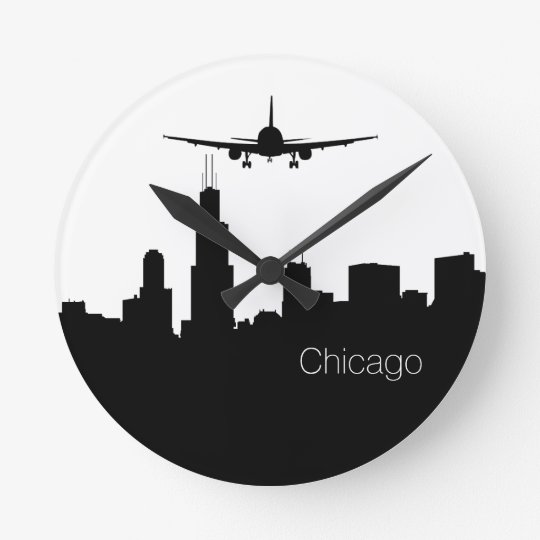 chicago skyline silhouette wall clock zazzle com