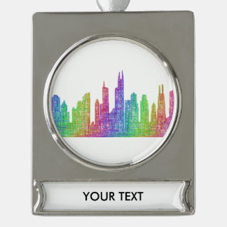 Chicago skyline silver plated banner ornament