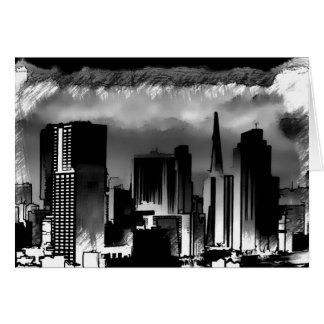 Chicago Skyline Sketch in Black and White Card
