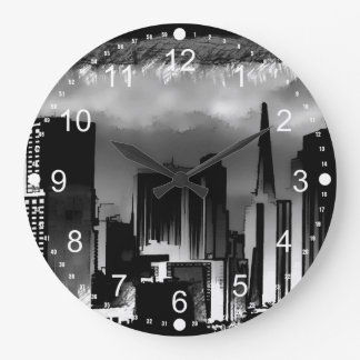 Chicago Skyline Sketch in Black and White Wall Clock