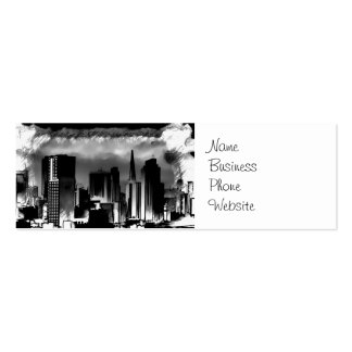 Chicago Skyline Sketch in Black and White Double-Sided Mini Business Cards (Pack Of 20)
