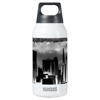 Chicago Skyline Sketch in Black and White Insulated Water Bottle