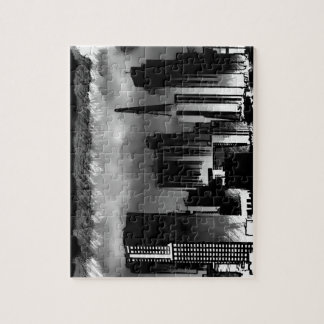 Chicago Skyline Sketch in Black and White Jigsaw Puzzle
